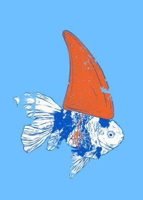 Big fish in small pound by Evgenia Chuvardina | metal posters - Displate #funny… | Displate thumbnail