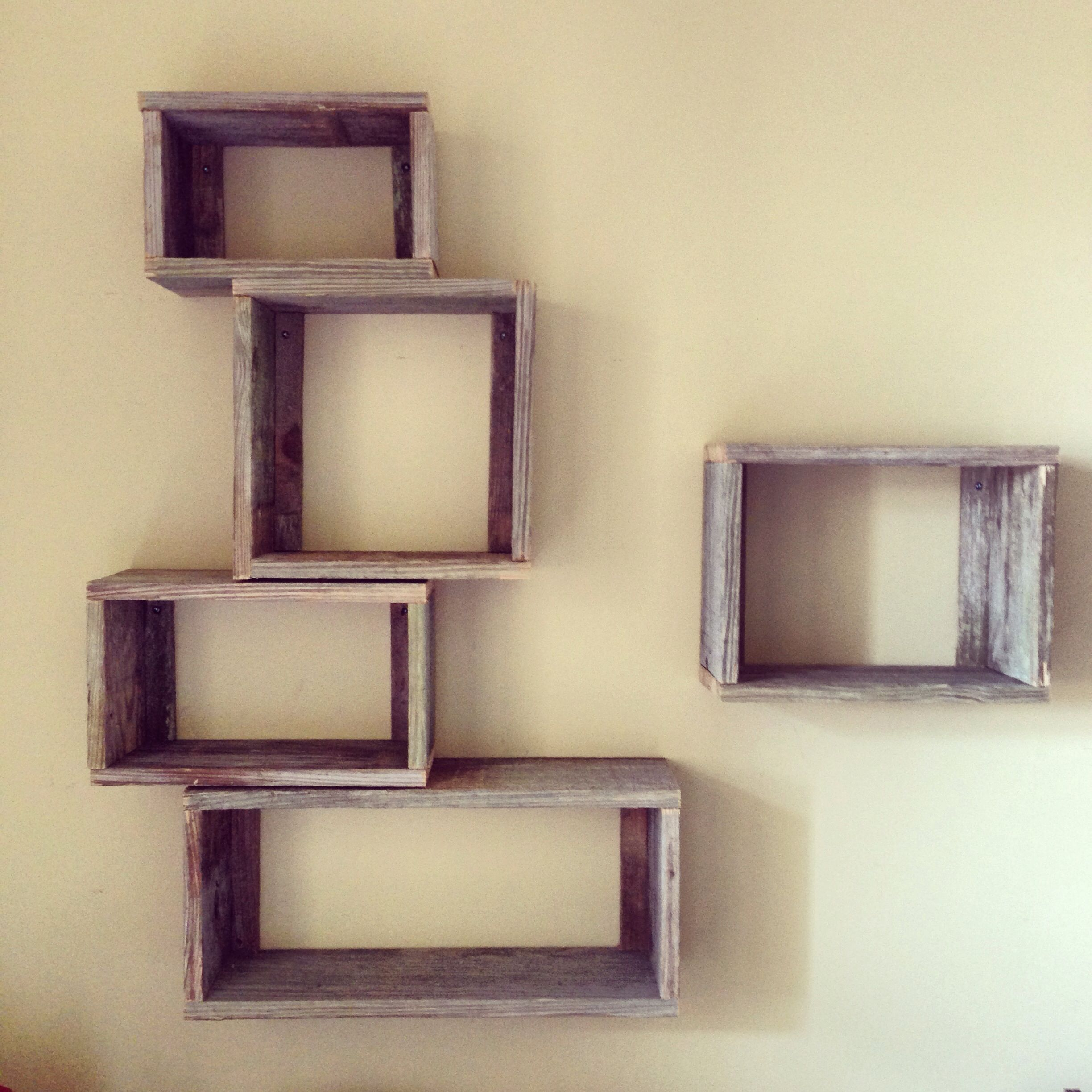 Diy funky box wood shelves. Made out of fence reclaimed wood. Great way to