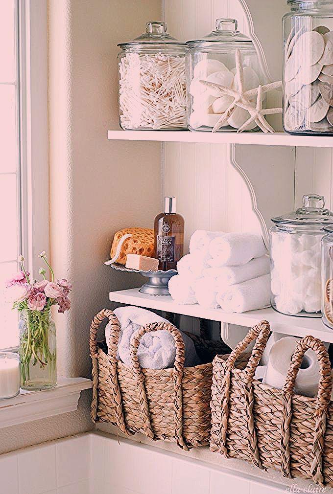 Diy Bathroom Linen Shelves Ella Claire In 2020 Beach