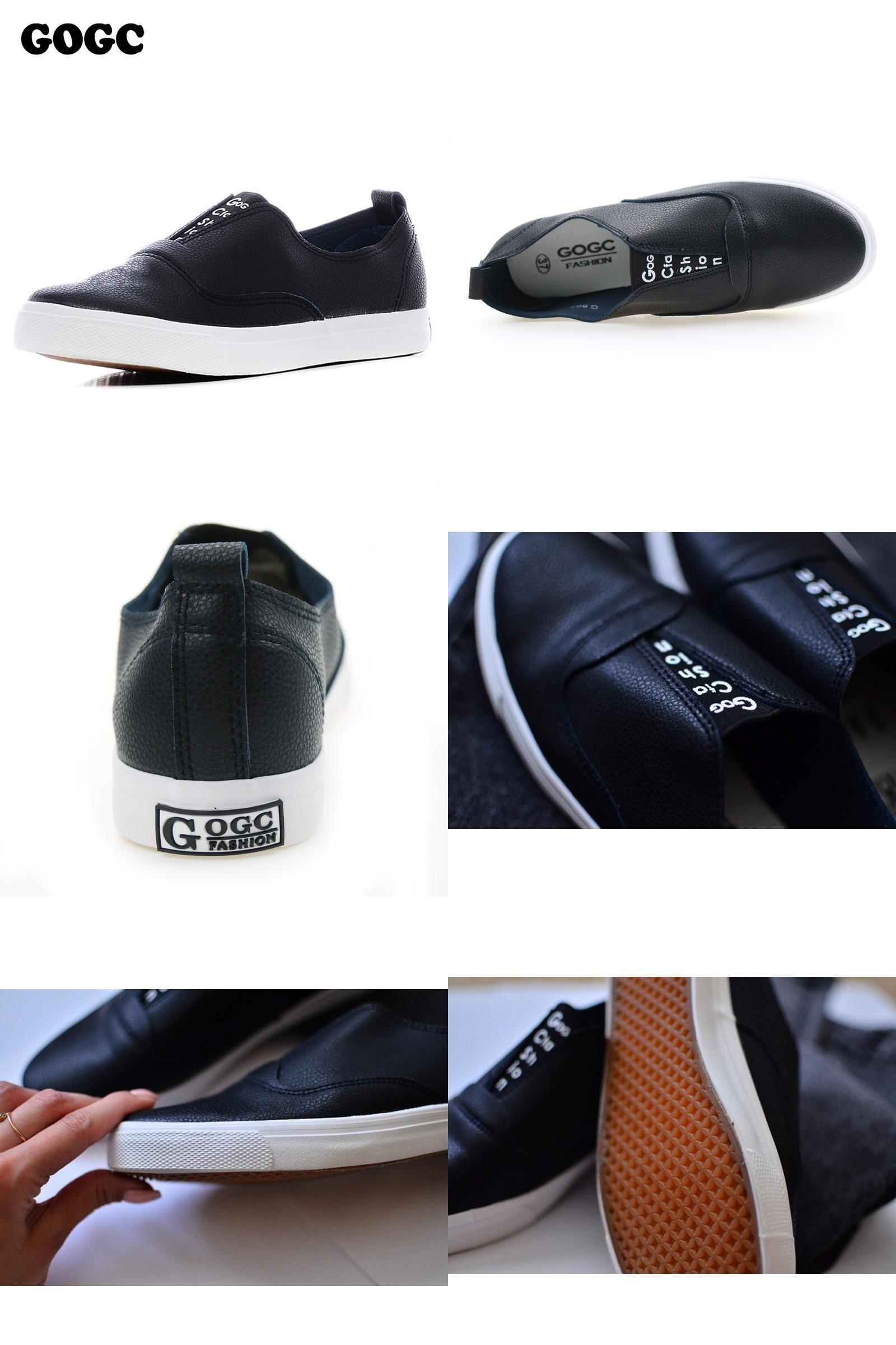 e0cbd154a377f [Visit to Buy] GOGC 2017 New Slipony Women Black Leather Casual Shoes Women Flats  Shoes Slip-on Breathable Slipony Shoes Women Vulcanized Shoes # ...