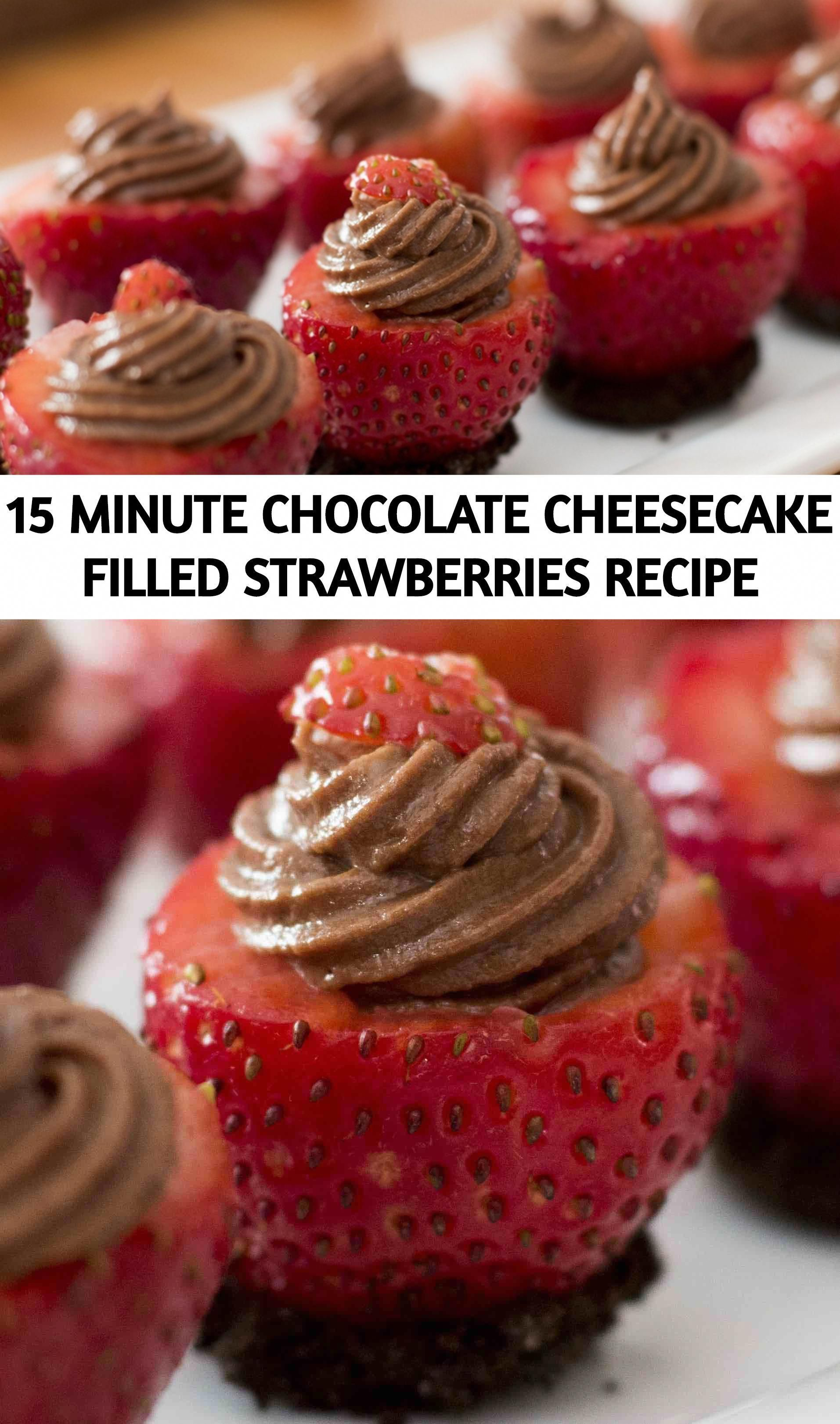 Chocolate Cheesecake Filled Strawberries- mouthwatering and creamy chocolate cheesecake stuffed in fresh strawberries. A no-bake dessert takes only 15 minutes to make! It's the perfect make-ahead dessert for a party or holiday with friends and family. #chocolatecheesecake #nobakecheesecakefilling