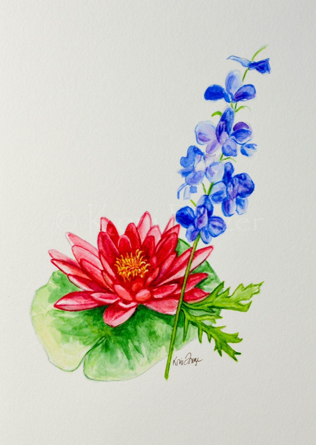 Water Lily And Larkspur July Birthday Flower Original Watercolor