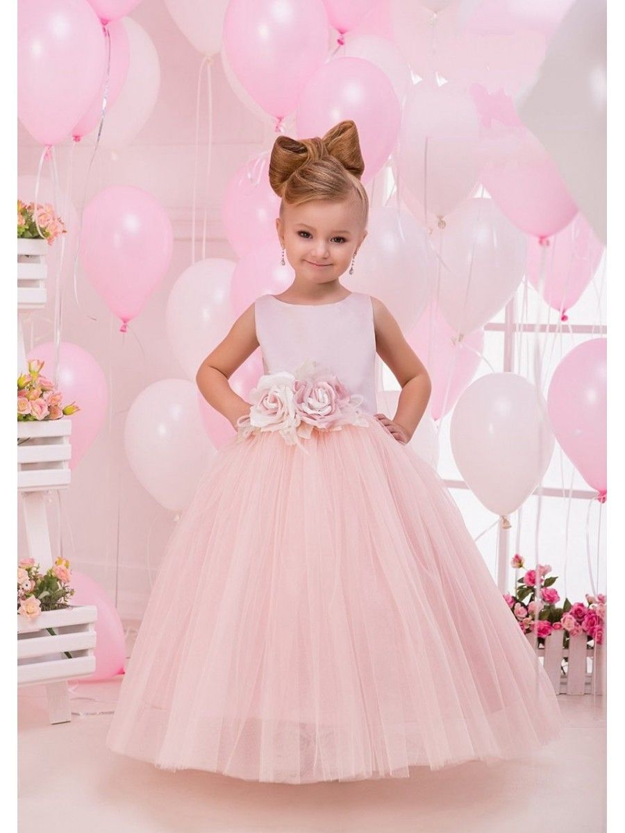 Cute Pink Tulle Princess Ball Gown Flower Girl Dresses With Handmade