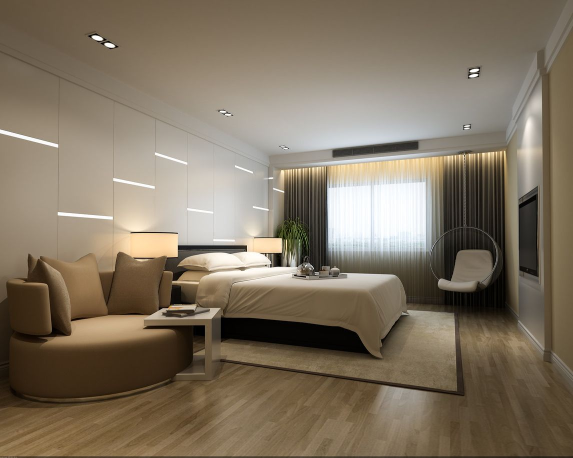Interesting bedroom design with round sofa, built-in LED wall