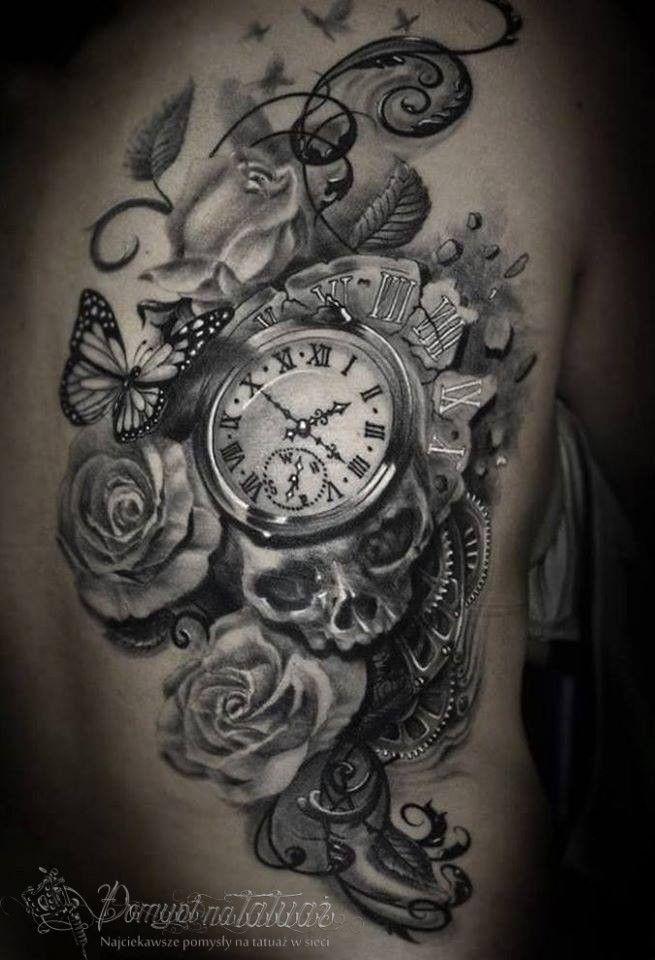 Tatuaż Zegar Czaszka Motyle Róże Tatuaż Tatuaż