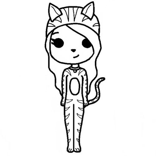 Chibi Girl Template  Google Search  Dibujos A Blanco Y Negro
