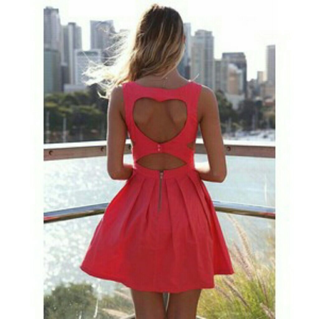 Red heart cut out dress products