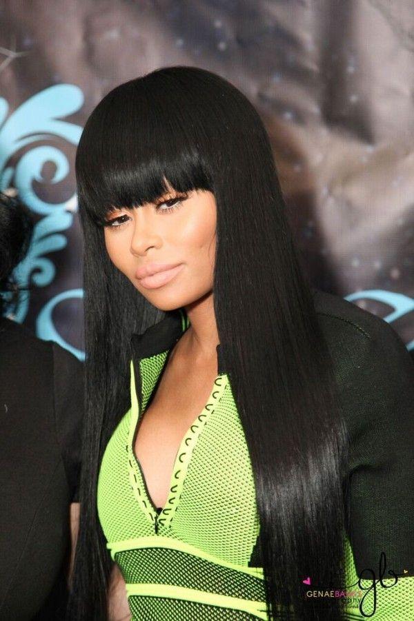 Blac Chyna Bangs Long Brazilian Straight Hair Extensions Wig Black