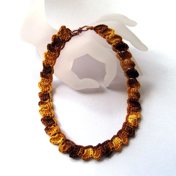 Autumn Gold Thread Crochet Necklace by KnittingGuru. Inspired by the ...