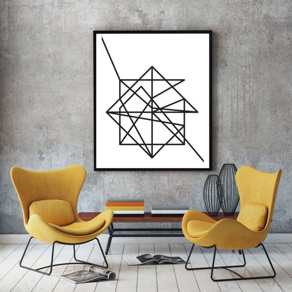 Wire, Black & White Abstract Geometric Art Poster