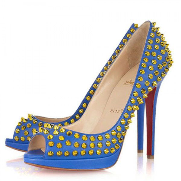 9900ca9b73d2 Louboutin Yolanda Spikes 120 Peep Toe Pumps Blau  heels