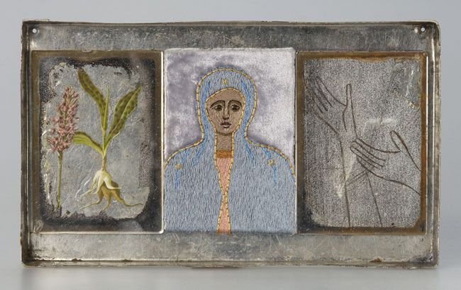 Ulla Pohjola, Roots, 2006 Size:  12 x 20,5 x 1,3 cm Technique:  hand-made embroidery, mixed media