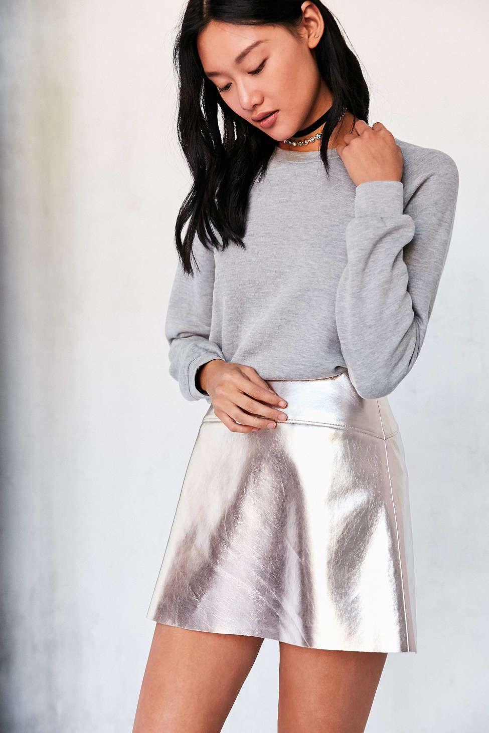 Silence + Noise Rose Gold Vegan Leather Mini Skirt - Urban Outfitters
