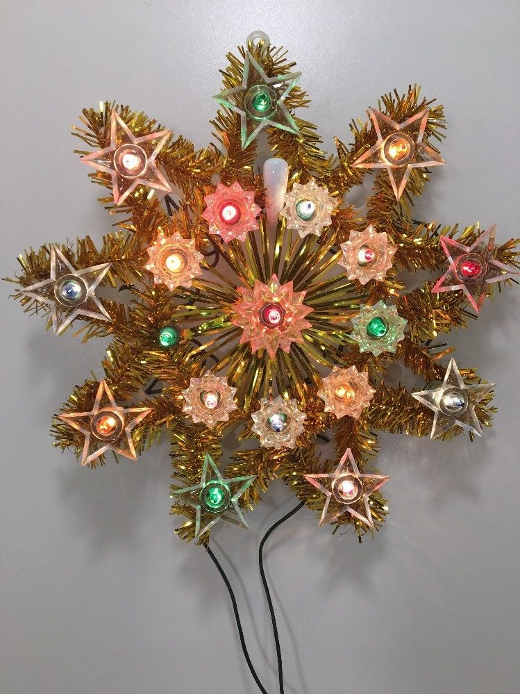 Noma 19 Light Star Christmas Tree Top Topper Gold Tinsel Lights Box