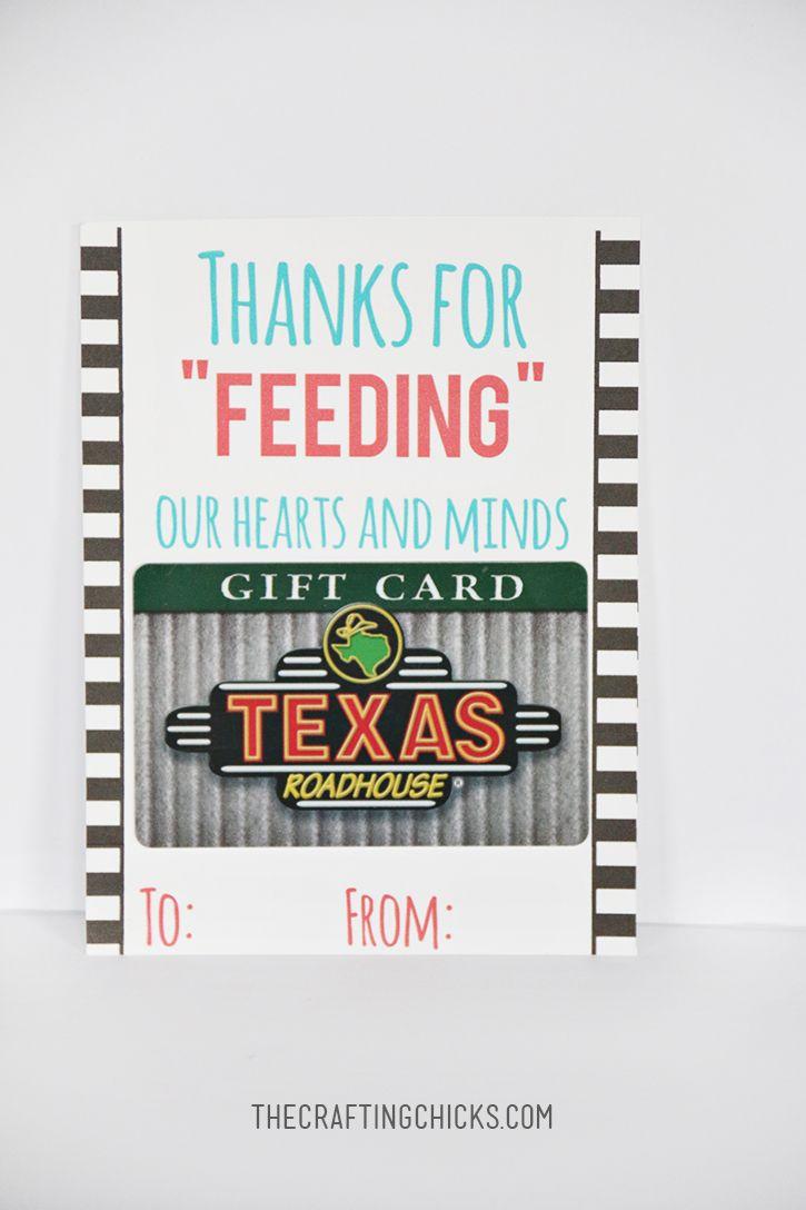 Teacher Restaurant Gift Idea and Printable | Teacher & Coworker ...