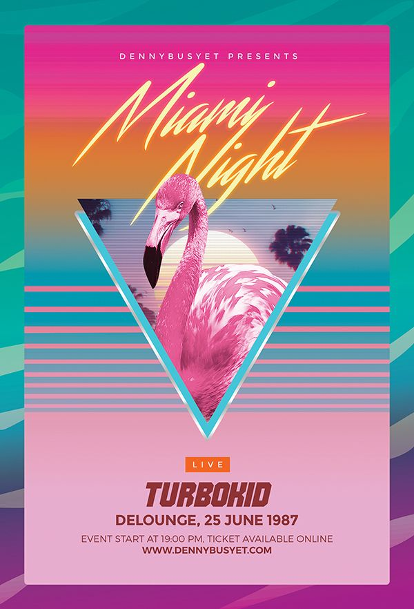 Miami Night 80u0027s Synthwave Flyer Synthwave 80u0027s Design Template - clothing drive flyer template