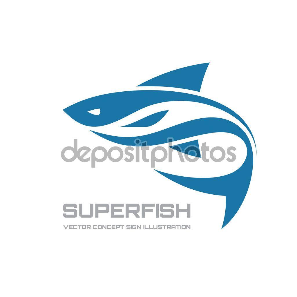 Estupendos pescados - vector ilustración de concepto de logotipo. Logotipo  de los pescados. Plantilla de logotipo vectorial. 772df61240c47