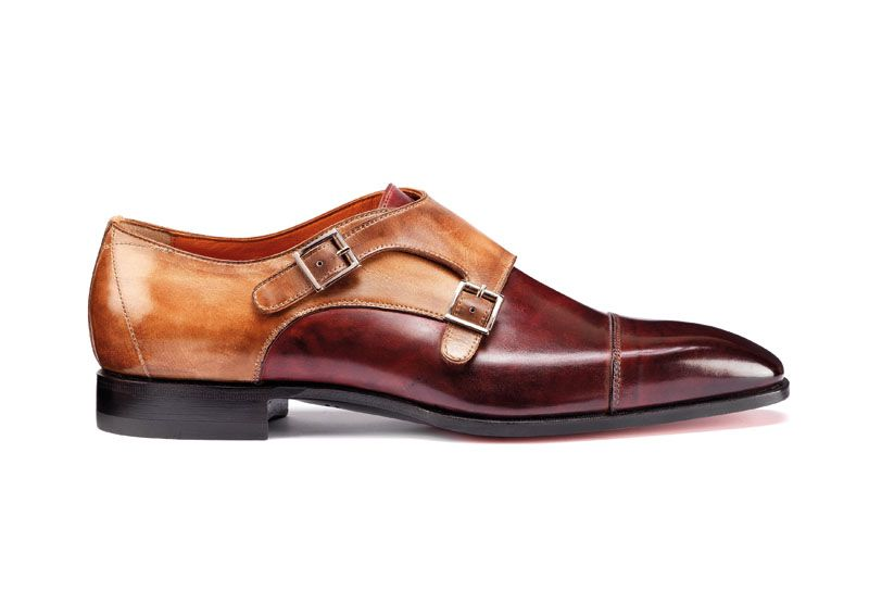 Santoni | Double buckle in burgundy and beige two-coloured calfskin.  #SpringSummer15 #