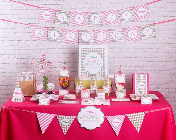 Golf Girl Birthday Party Decorations Argyle by stockberrystudio