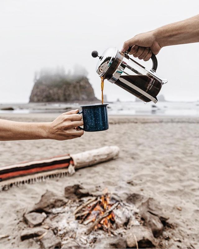 Sunday morning coffee.  #getoutdoors #upknorth Best enjoyed in the open, by a fire. Awesome shot by @resatka