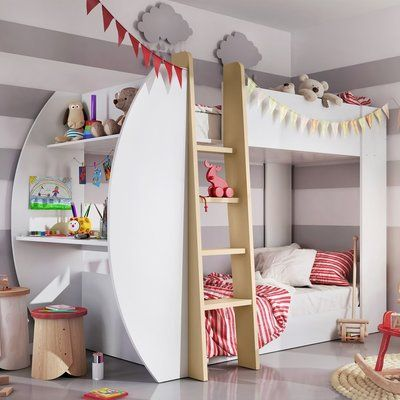 Photo of Mack & Milo Mendonca Twin Bunk Bed with Drawers and Bookcase | Wayfair