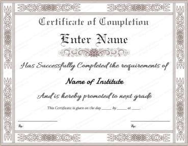 photo about Free Printable Certificates of Completion identify Official Certification of Completion Template Totally free printable