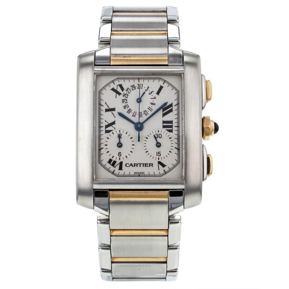 986688abbfce Cartier Tank Francaise Chronoflex 18K Yellow Gold   Steel Quartz Mens Watch   Cartier  LuxurySportStyles