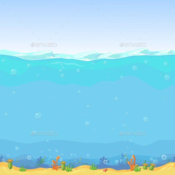 Underwater Seamless Landscape Cartoon Background Cartoon Background Wave Illustration Underwater Background