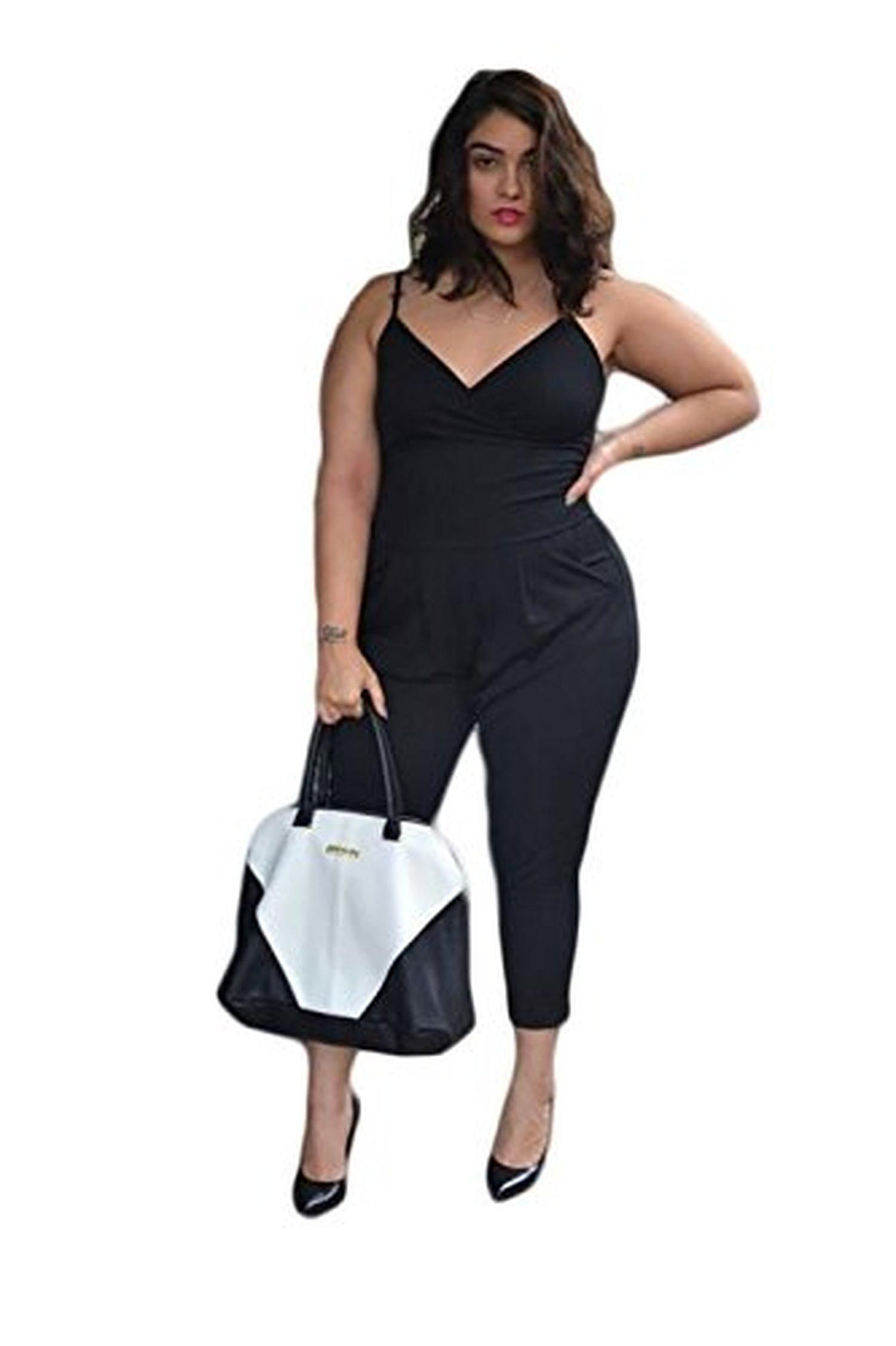 7dfc26dc5ee Flymall Womens Plus Size Clubwear Casual Romper Jumpsuit Pants Party Dress  (3XL) - Brought to you by Avarsha.com