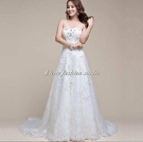 Wedding dress Vintage lace sweatheart wedding gown by ELENAWEDDING ...