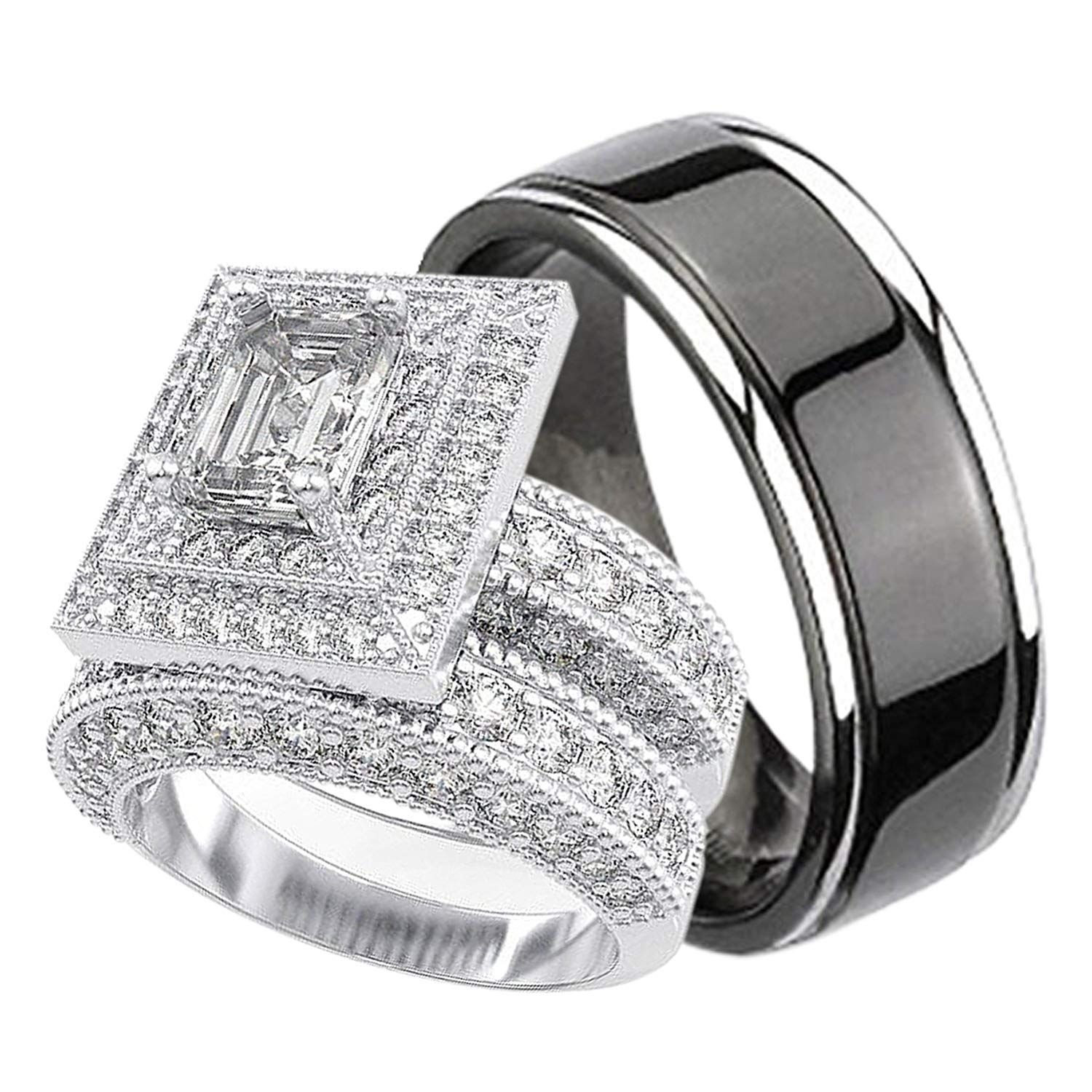 His and Hers Wedding Rings Set Sterling Silver Titanium
