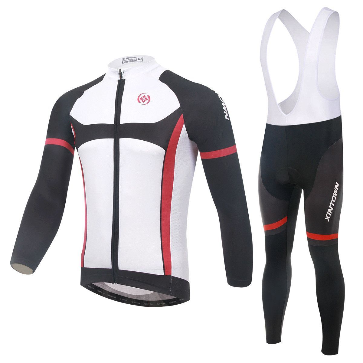 Black and Red Stripe Long Sleeve Cycling Jersey Set  d35c5778c