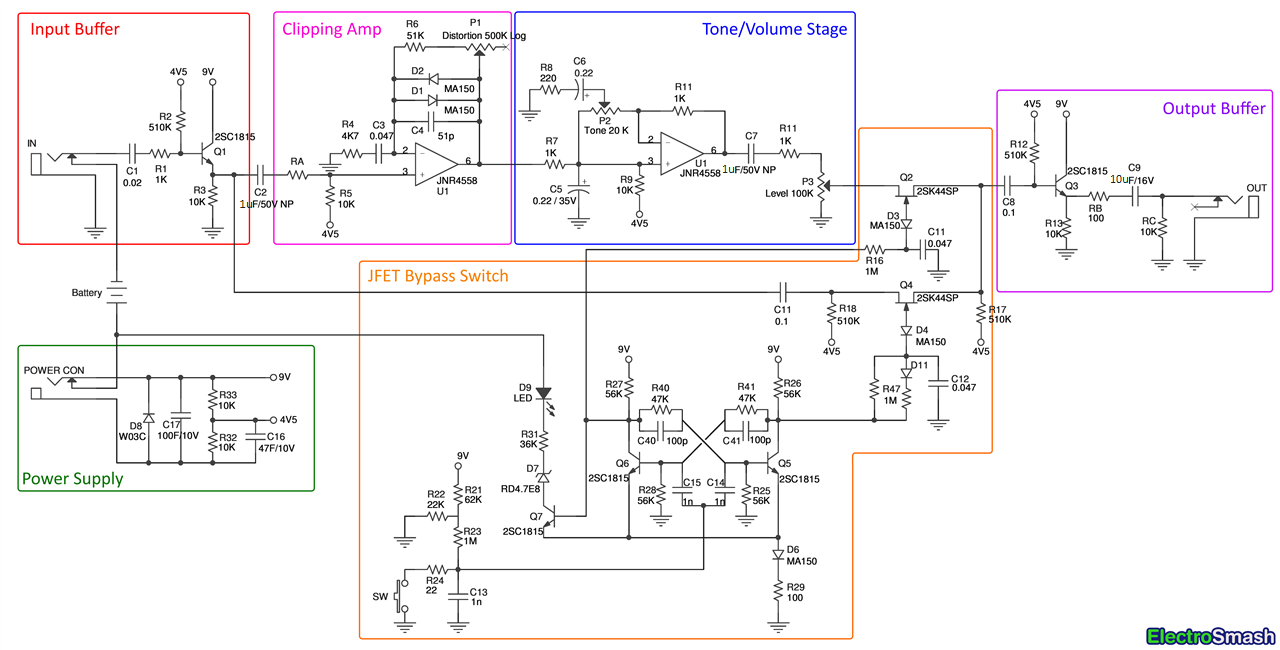 ElectroSmash With True Bypass Looper Wiring Diagram Teamninjaz Me In Diy Guitar  Pedal, Guitar Pedals