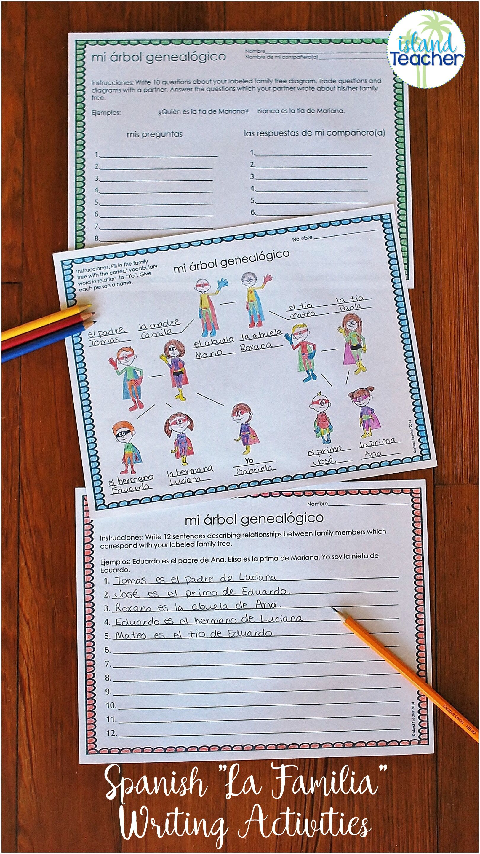 La Familia De Superheroes Spanish Family Vocabulary