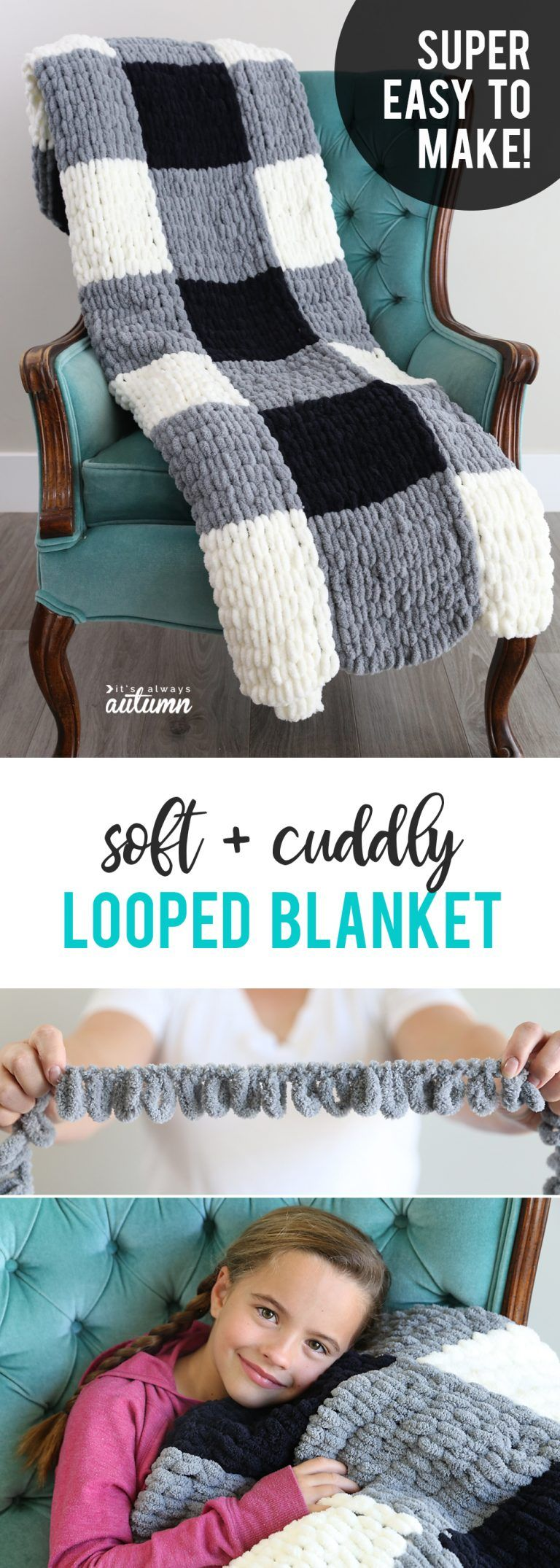 Make a gorgeous finger knit blanket with loop yarn {this is so easy!} – It's Always Autumn