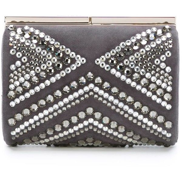 Jimmy Choo 'Cate' clutch (2,030 CAD) ❤ liked on Polyvore featuring bags, handbags, clutches, grey, grey leather handbag, real leather purses, gray leather handbag, gray purse and jimmy choo clutches
