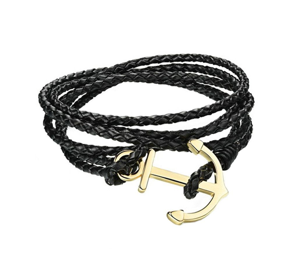 Men's Jewelry Fashion Leather Golden Anchor Buckle Design Hand Knitting Bangle Bracelets