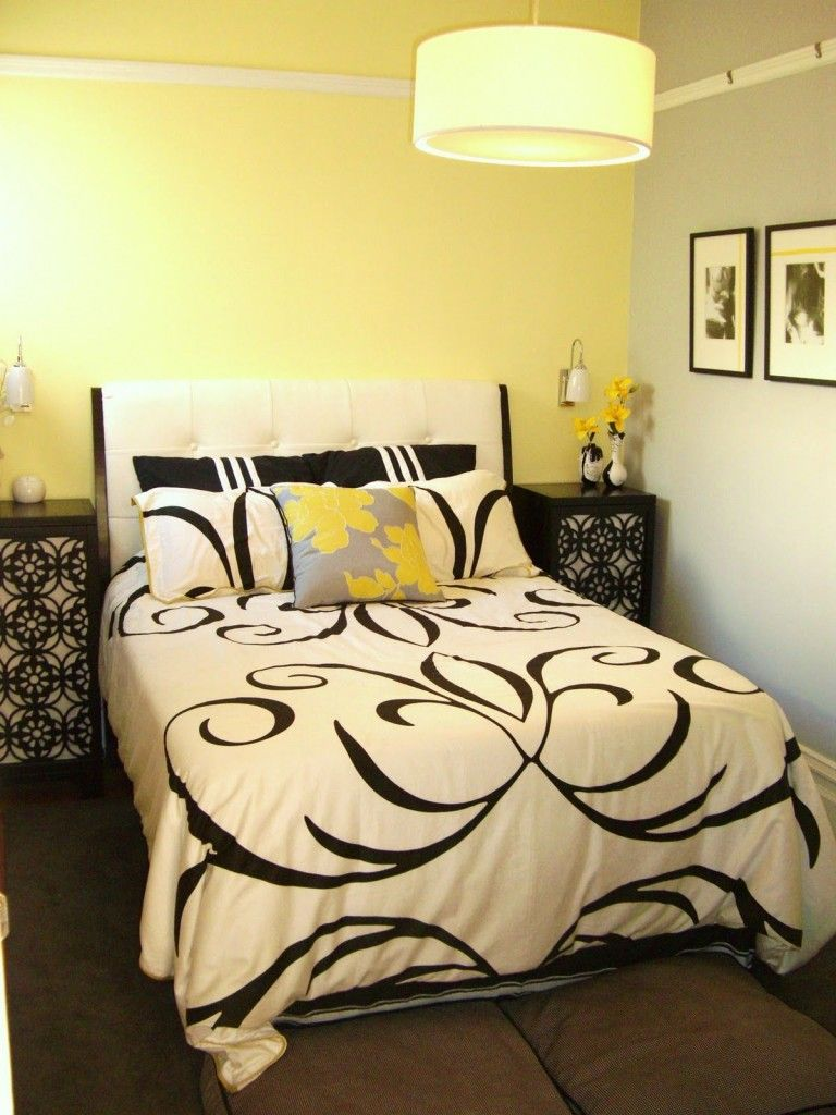 Black, White, And Yellow Bedroom Decoration Ideas Amazing Interior ...