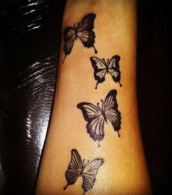 Cucho Tattoo Tatuaje Mariposas En Negro Para Mujer Faros