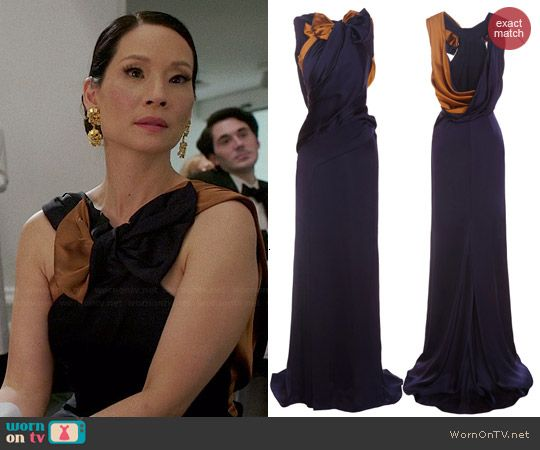 Joan's navy and tan/gold bow gown on Elementary. Outfit Details: http://wornontv.net/44914/ #Elementary