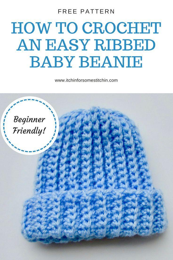 Ribbed Baby Beanie Pattern (Crochet | Pinterest | Free pattern ...