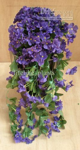 8 Stem Hydrangea Flower Hanging Artificial Silk Trailing Plants Imitaion Purple