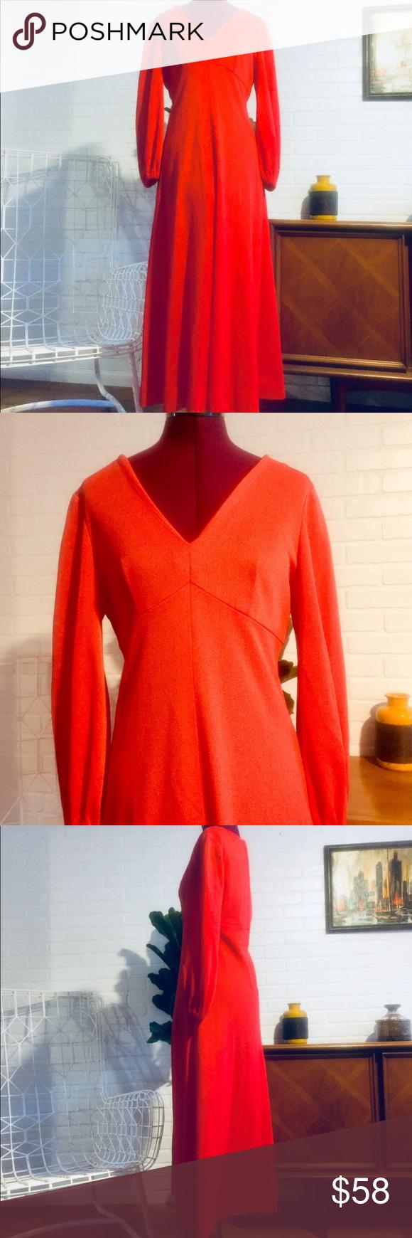 Vintage s red maxi dress empire waist neckline m my posh picks