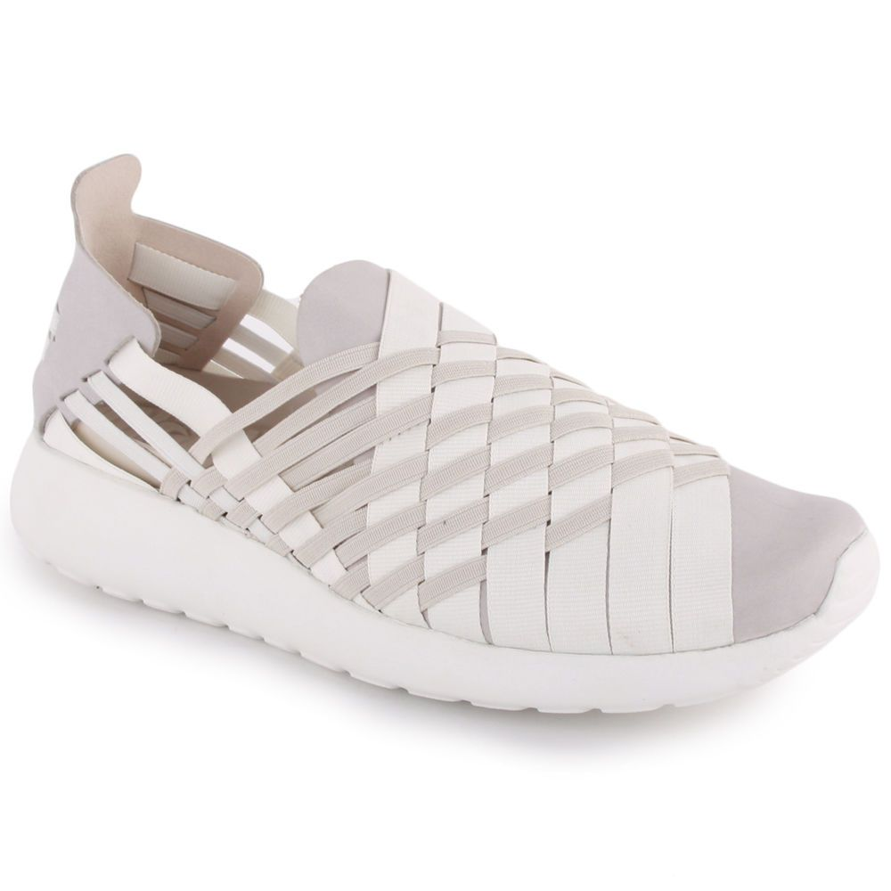 a7960a419664 Nike Roshe Run Woven Womens Slip On Light Trainers Grey White Black New  Shoes