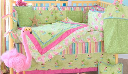 Tropical Pink Flamingo And Palm Trees Pattern Fabric In Clic Lime Green A Super Crib Set For Fun Beach Theme Nursery