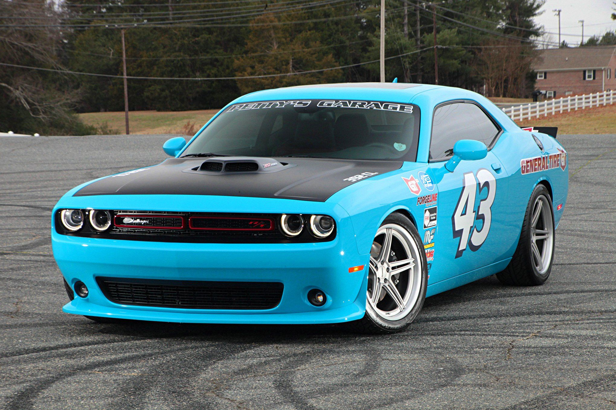hight resolution of baby blue dodge challenger looking good with custom halo headlights