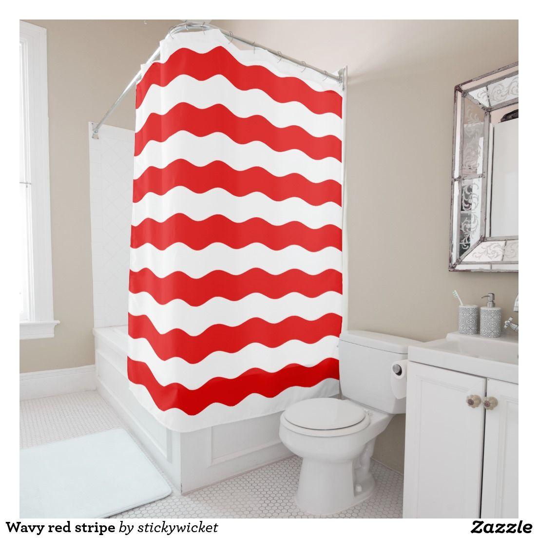 Wavy Red Stripe Shower Curtain