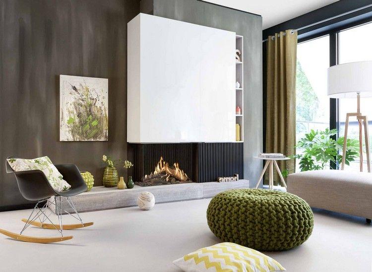 Moderner Kamin Gas Wohnzimmer Naturfarben FAIRO ECO PRESTIGE