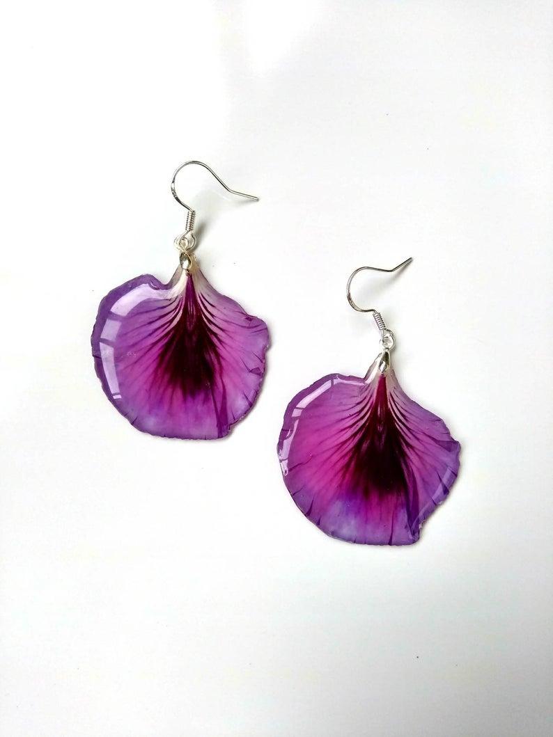 Drop Fuchsia Earrings Dangle Earrings Real Flower Earrings Etsy Etsy Earrings Real Leaf Jewelry Resin Jewelry