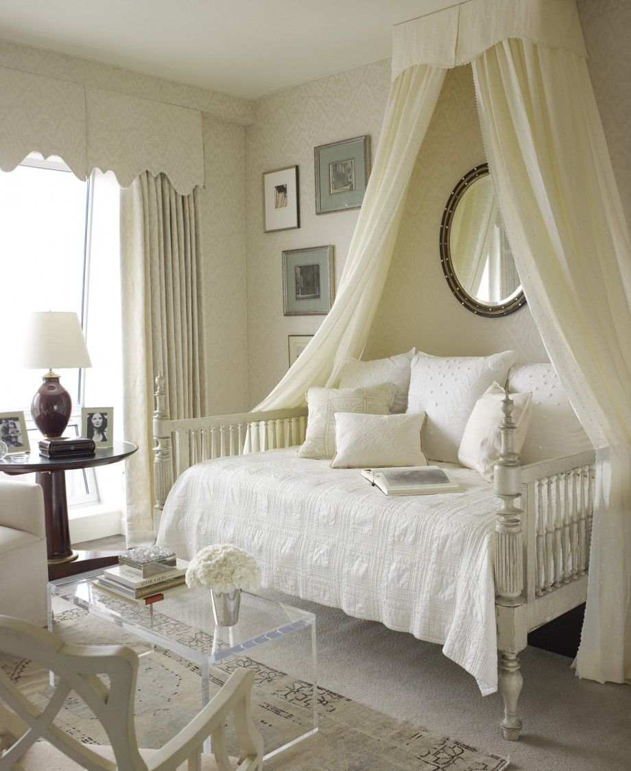 elegant ceiling mounted canopy for daybed with white sheer drapes and wall mounted round mirrored